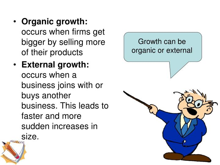 Growth can be organic or external