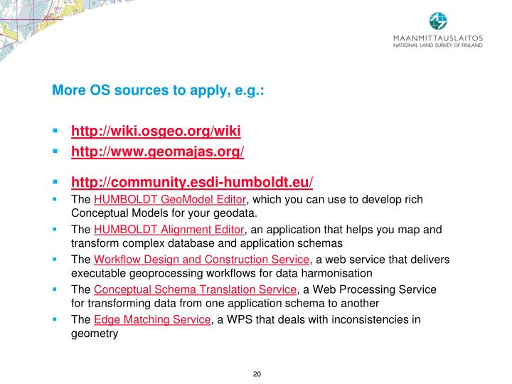 More OS sources to apply, e.g.: