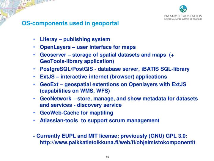 OS-components used in geoportal
