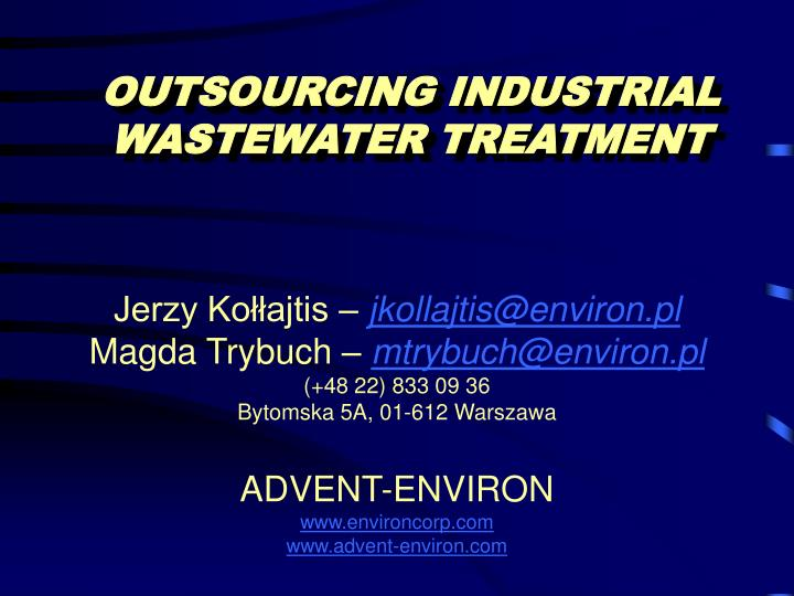 Outsourcing industrial wastewater treatment