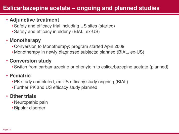 Eslicarbazepine acetate – ongoing and planned studies