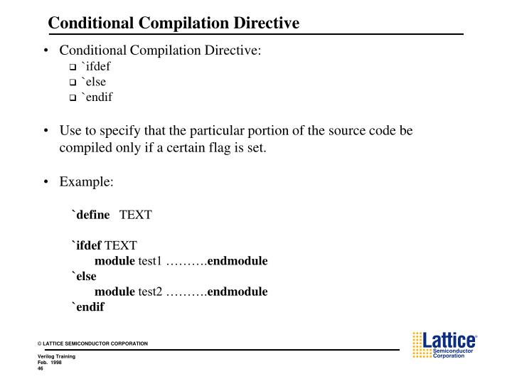 Conditional Compilation Directive