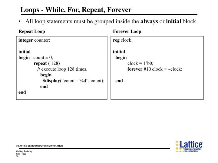 Loops - While, For, Repeat, Forever