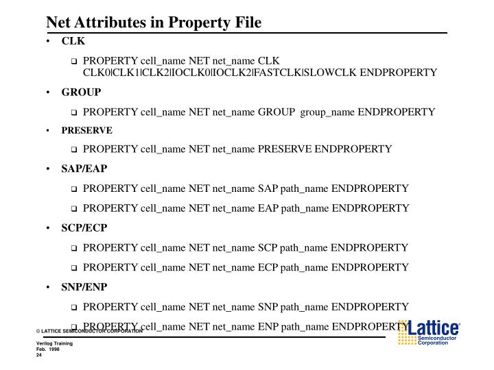 Net Attributes in Property File