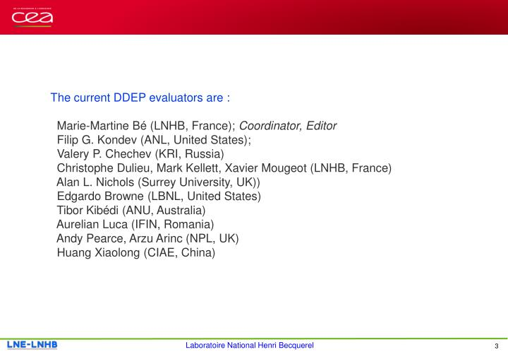 The current DDEP evaluators are :