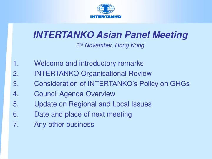 INTERTANKO Asian Panel Meeting