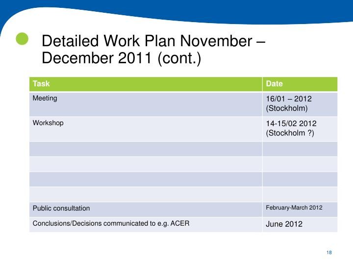 Detailed Work Plan November – December 2011