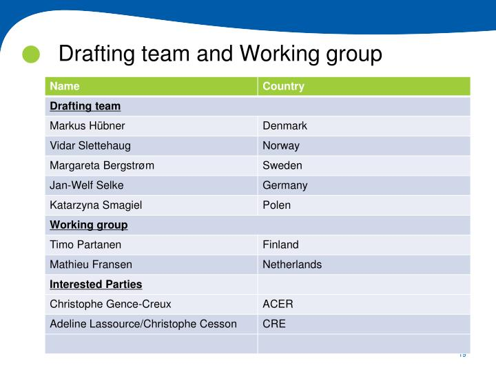 Drafting team and Working group