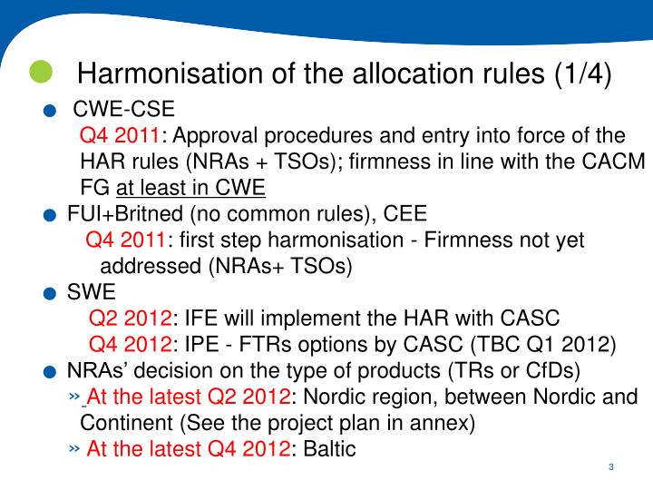 Harmonisation of the allocation rules (1/4)
