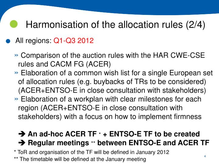 Harmonisation of the allocation rules (2/4)