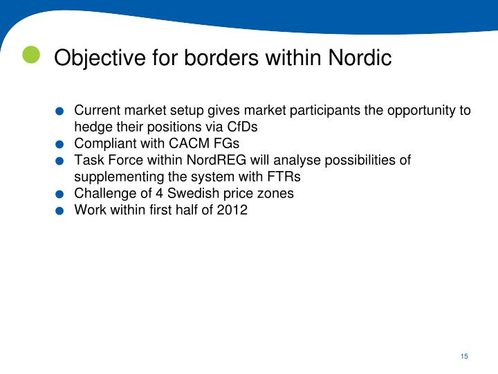 Objective for borders within Nordic