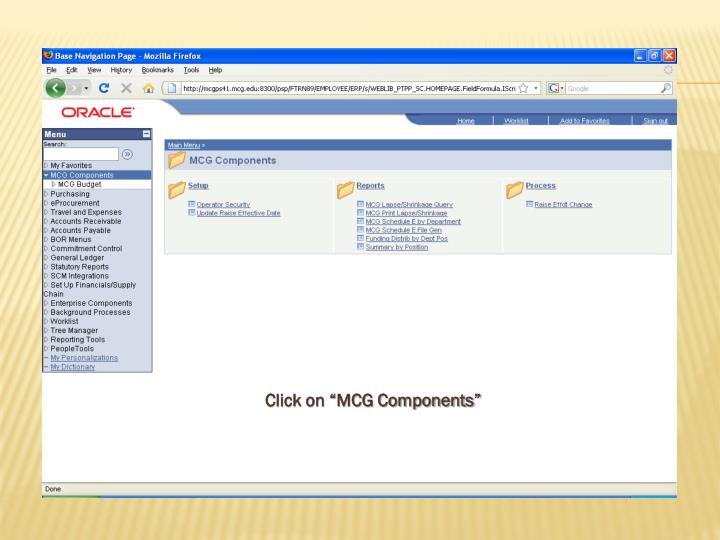 "Click on ""MCG Components"""
