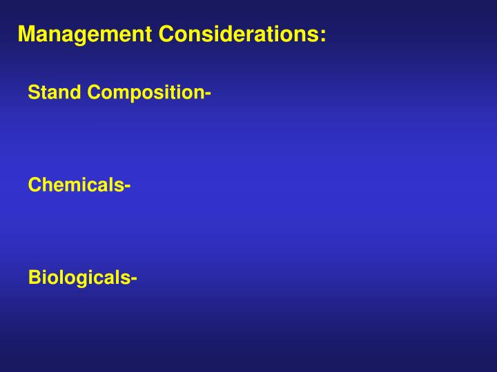 Management Considerations: