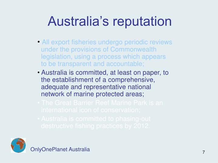 Australia's reputation