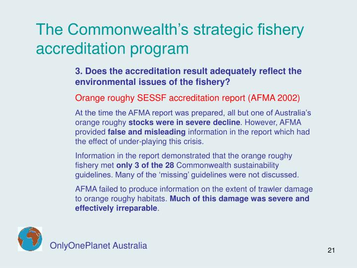 The Commonwealth's strategic fishery accreditation program