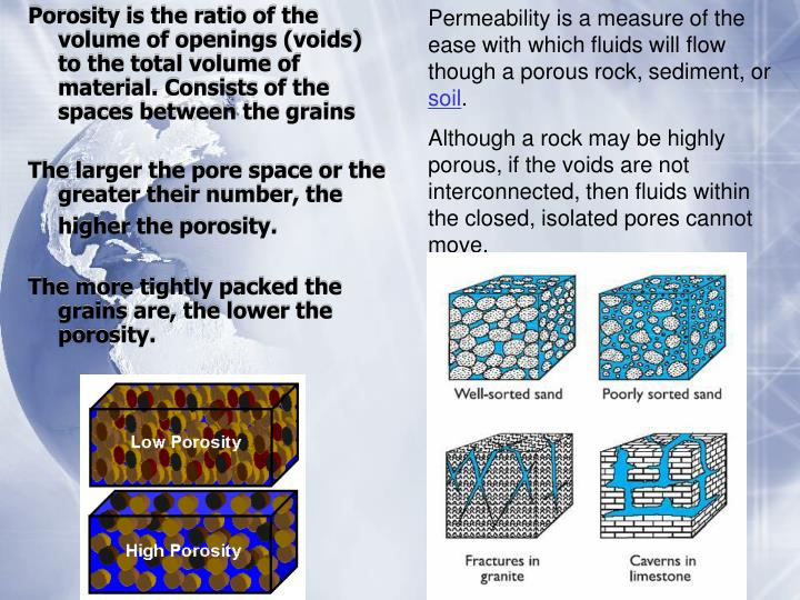 Permeability is a measure of the  ease with which fluids will flow though a porous rock, sediment, or