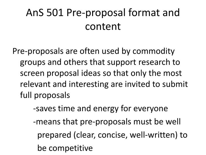 Ans 501 pre proposal format and content