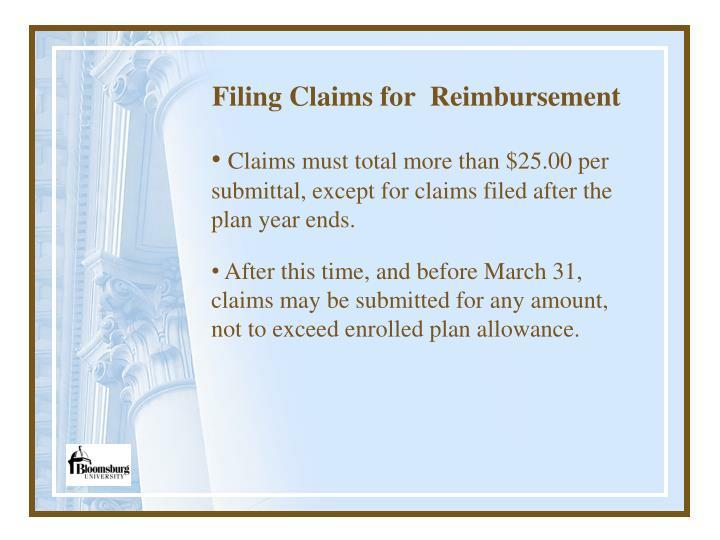 Filing Claims for  Reimbursement