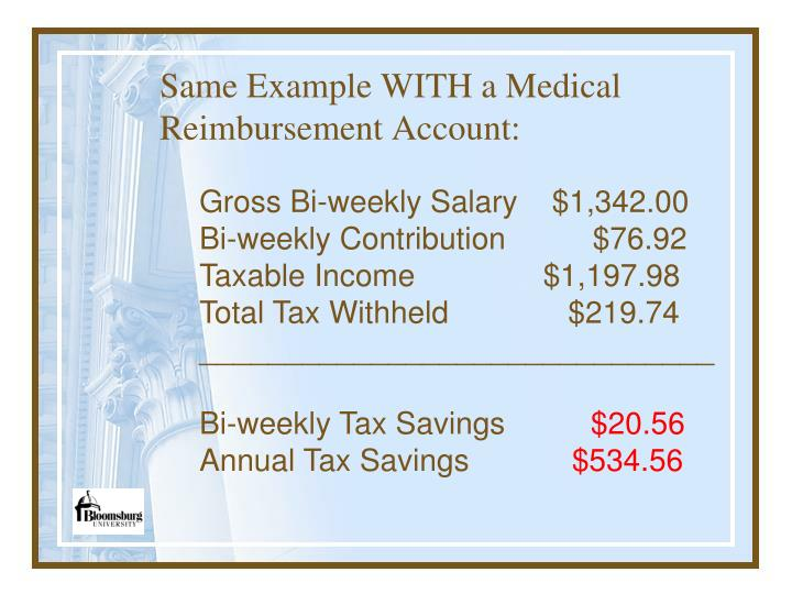 Same Example WITH a Medical Reimbursement Account: