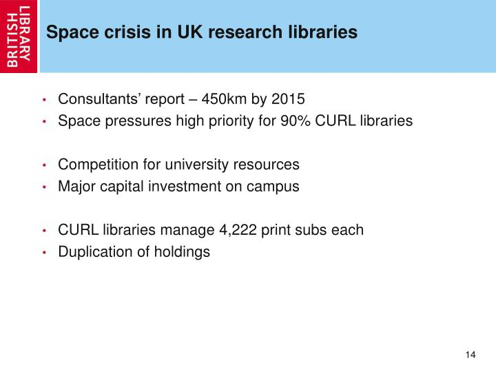 Space crisis in UK research libraries