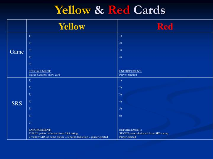 Yellow red cards