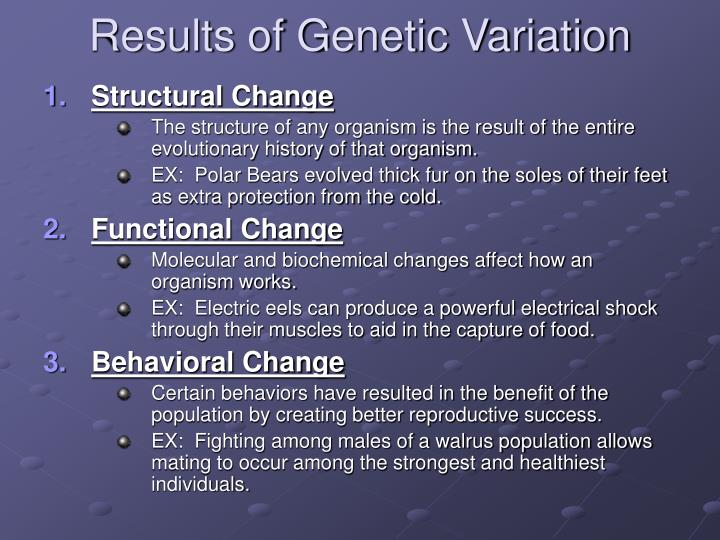 Results of Genetic Variation