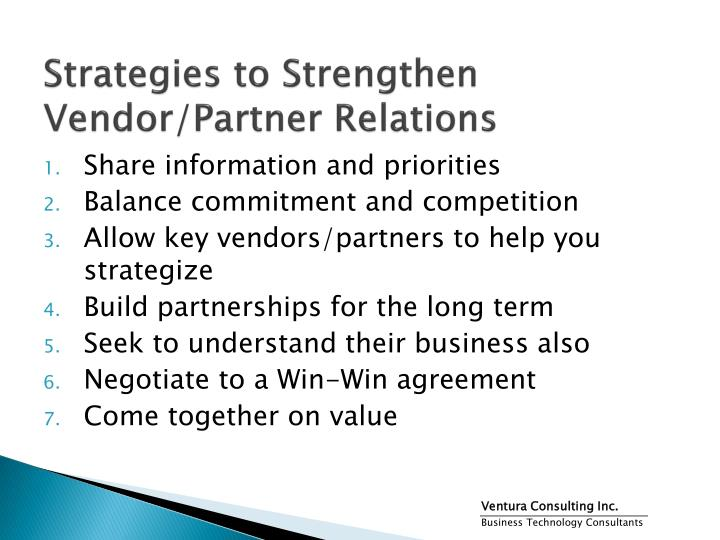 Strategies to Strengthen Vendor/Partner Relations