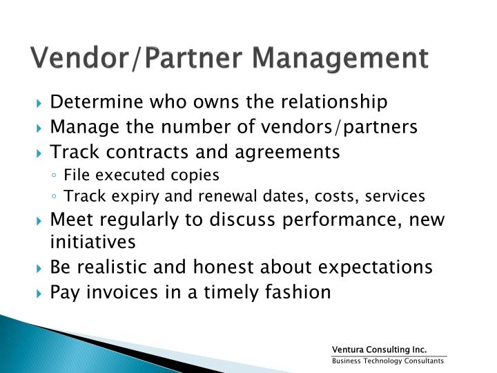Vendor/Partner Management