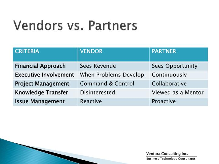 Vendors vs partners