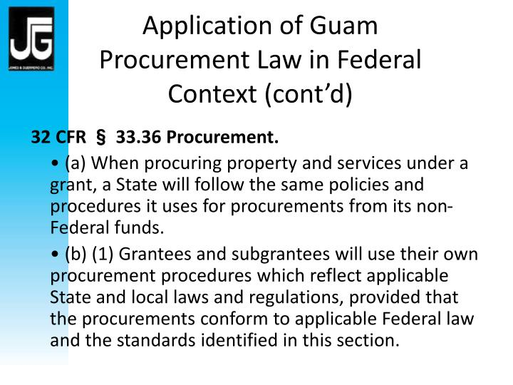 Application of Guam Procurement Law in Federal Context (cont'd)