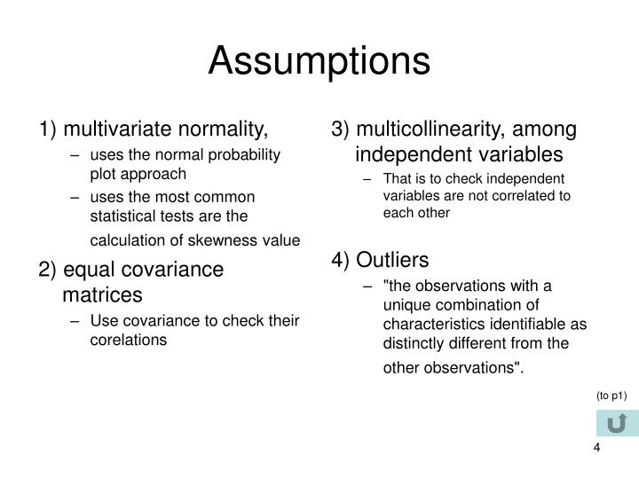 1) multivariate normality,