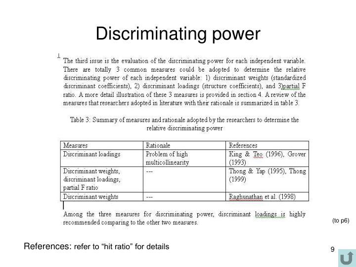 Discriminating power