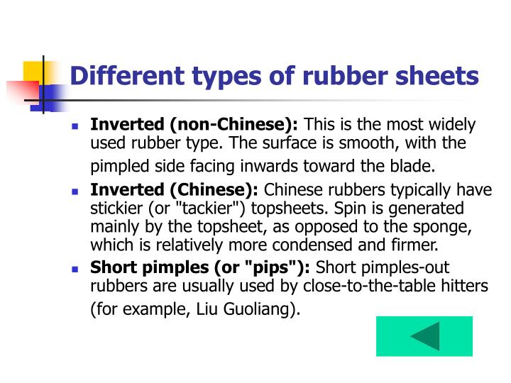Different types of rubber sheets