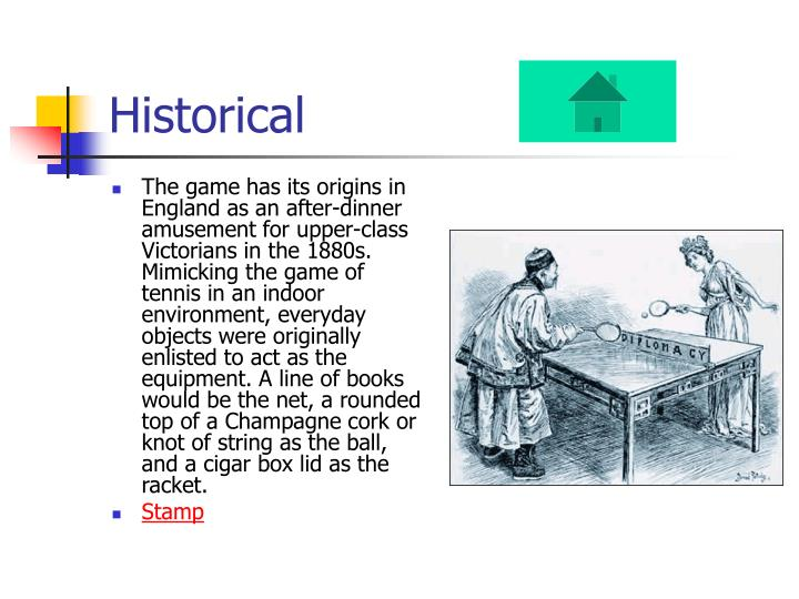 The game has its origins in England as an after-dinner amusement for upper-class Victorians in the 1880s. Mimicking the game of tennis in an indoor environment, everyday objects were originally enlisted to act as the equipment. A line of books would be the net, a rounded top of a Champagne cork or knot of string as the ball, and a cigar box lid as the racket.