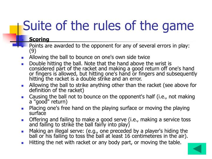 Suite of the rules of the game