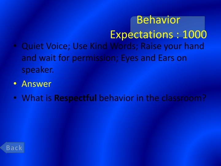 Behavior Expectations : 1000