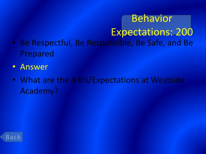 Behavior Expectations: 200