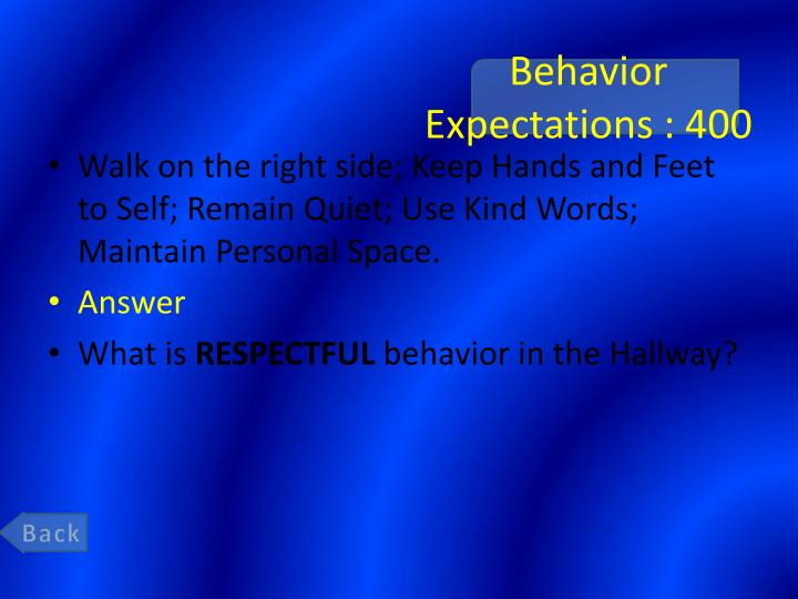 Behavior Expectations : 400
