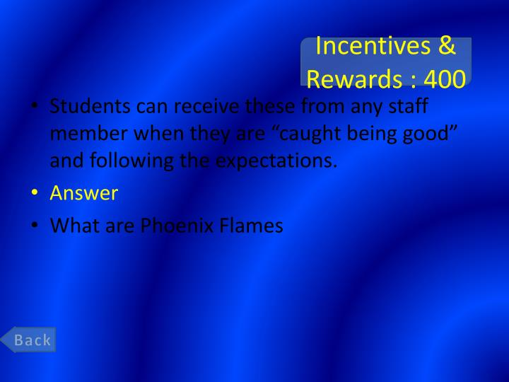Incentives & Rewards : 400