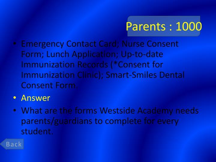 Parents : 1000