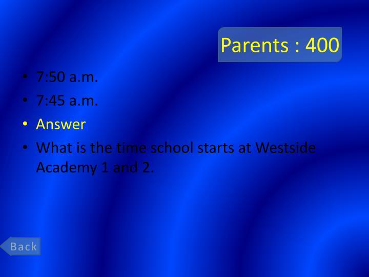 Parents : 400
