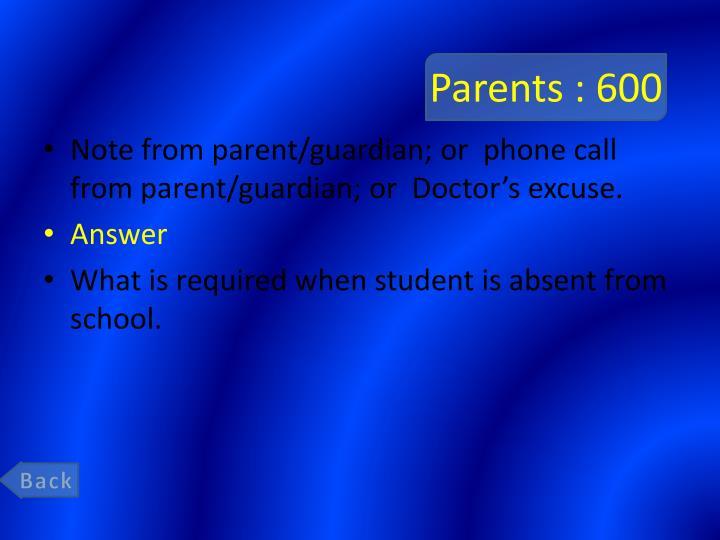 Parents : 600
