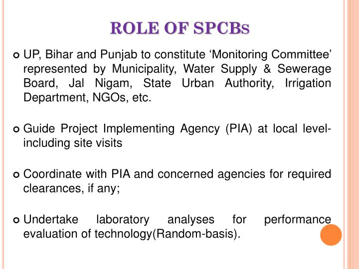 ROLE OF SPCBs