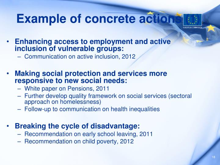 Example of concrete actions (1)