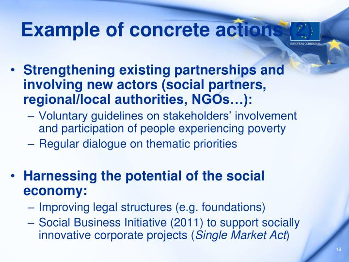 Example of concrete actions (2)