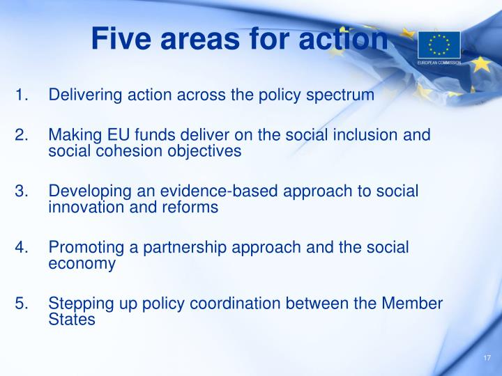 Five areas for action