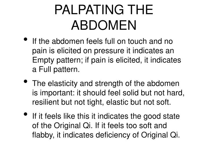 PALPATING THE ABDOMEN