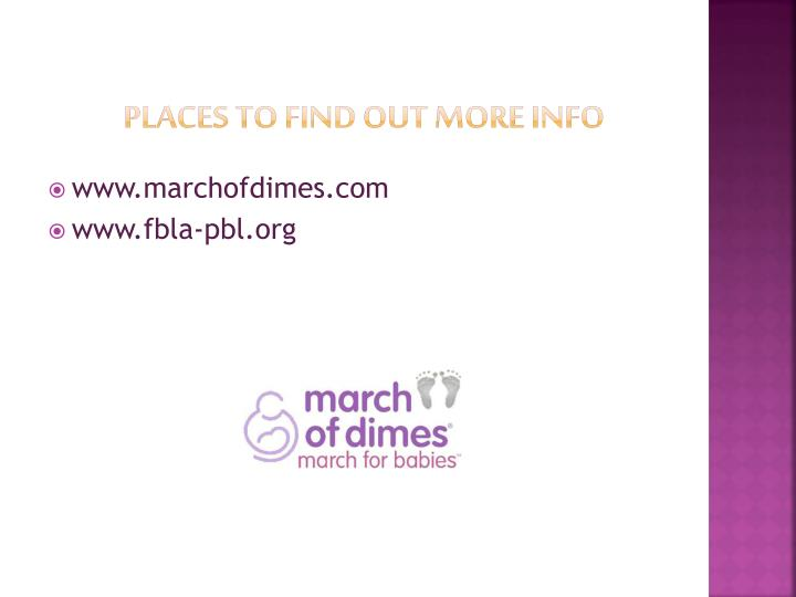 Places to Find Out More Info