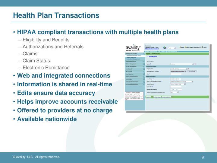 Health Plan Transactions