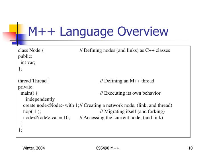 M++ Language Overview